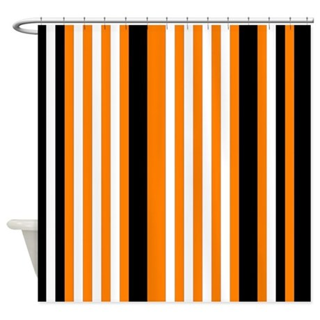 Orange Black White Stripes Shower Curtain By PrintPatterns