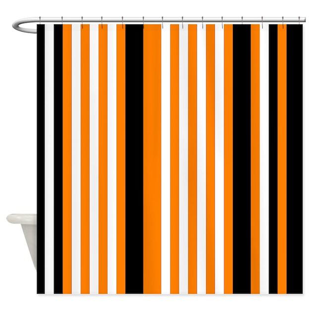black white striped shower curtain.  Orange Black White Stripes Shower Curtain by PrintPatterns