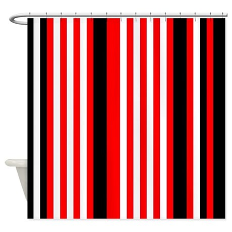 Red Black White Stripes Shower Curtain By PrintPatterns