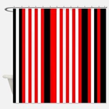 Red Black White Stripes Shower Curtain