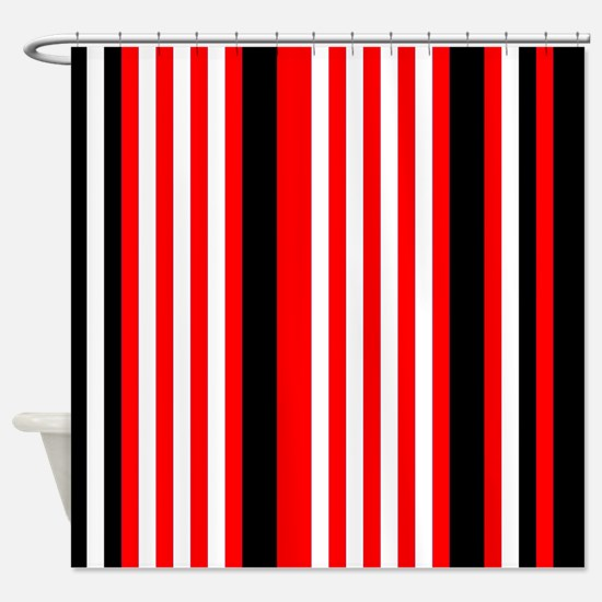 black and white striped shower curtain. Red Black White Stripes Shower Curtain And Striped Curtains  CafePress