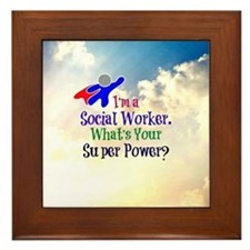 Social Worker Superhero Framed Tile