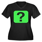 Question? Women's Plus Size V-Neck Dark T-Shirt