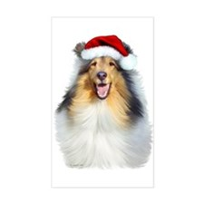 Santa Collie Rectangle Decal