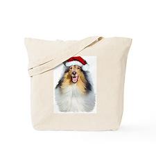 Santa Collie Tote Bag
