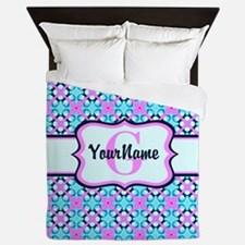 Teal & Pink Retro Floral Pattern Custo Queen Duvet