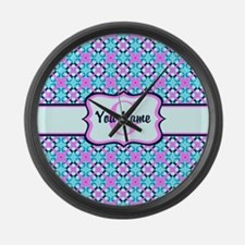 Teal & Pink Retro Floral Pattern Large Wall Clock