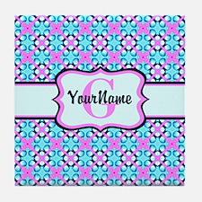 Teal & Pink Retro Floral Pattern Cust Tile Coaster