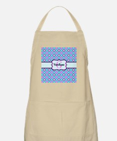 Teal & Pink Retro Floral Pattern Custom Mono Apron