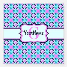 "Teal & Pink Retro Floral Square Car Magnet 3"" x 3"""