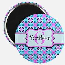 "Teal & Pink Retro Floral P 2.25"" Magnet (100 pack)"