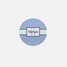 Teal & Pink Retro Floral Pattern Custo Mini Button