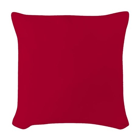 Solid Red Decorative Woven Throw Pillow by Pillow_Planet