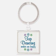 Tap Dancing Happy Square Keychain
