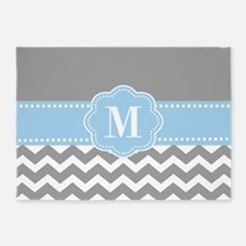 Gray Blue Chevron Monogram 5'x7'Area Rug