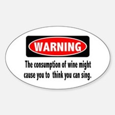 Wine Warning Oval Decal