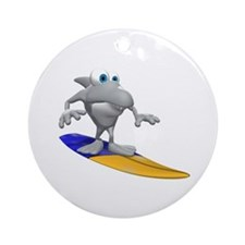 Funny Surfing Shark Ornament (Round)