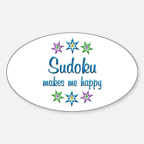 Sudoku Happy Sticker (Oval)