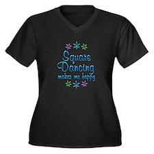 Square Danci Women's Plus Size V-Neck Dark T-Shirt