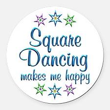 Square Dancing Happy Round Car Magnet