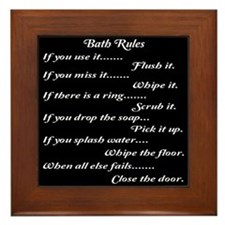 Bath Rules Framed Tile