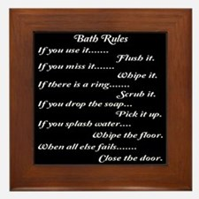 Bath Rules Framed Tile