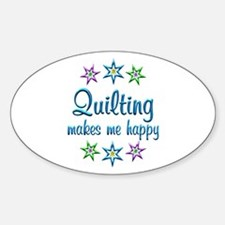 Quilting Happy Sticker (Oval)