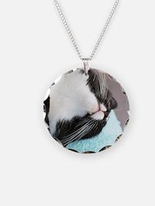 sleeping tuxedo cat Necklace