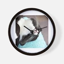 sleeping tuxedo cat Wall Clock