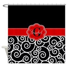 Black Red Swirls Personalized Shower Curtain