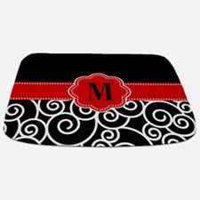 Black Red Swirls Monogram Bathmat
