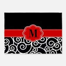 Black Red Swirls Monogram 5'x7'Area Rug