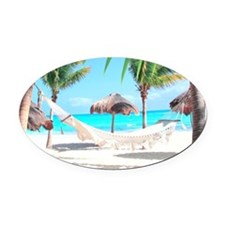 Tropical Paradise Oval Car Magnet