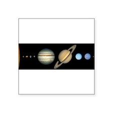 "Cute Solar system to scale Square Sticker 3"" x 3"""