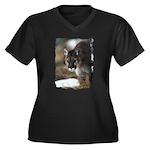 Mountain Lion Women's Plus Size V-Neck Dark T