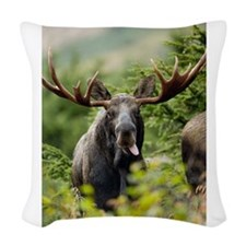 Moose in the Wild Woven Throw Pillow