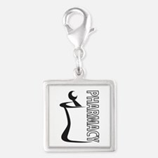 Pharmacy Mortar and Pestle Silver Square Charm