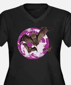 Bat Women's Plus Size V-Neck Dark T-Shirt