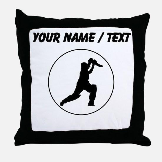 Custom Cricket Player Circle Throw Pillow