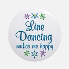 Line Dancing Happy Ornament (Round)