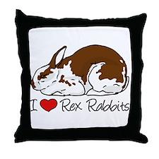 I Heart Rex Rabbits Throw Pillow