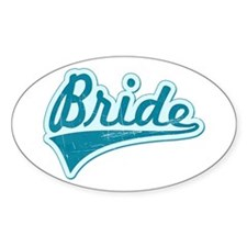 Blue Vintage Bride Oval Decal