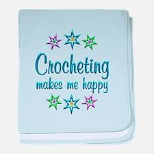 Crocheting Happy baby blanket