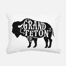 Grand Teton Buffalo Rectangular Canvas Pillow