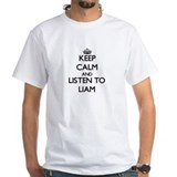 Keep calm and listen to liam Mens White T-shirts