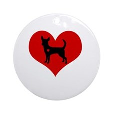 Chihuahua Heart Round Ornament