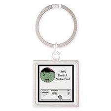 Zombie Food Nutrition Square Keychain