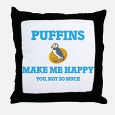 Puffins Make Me Happy Throw Pillow