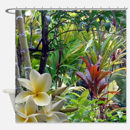 Tropics With Plumeria Shower Curtain