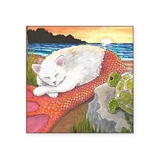 "Cat Mermaid 26 Square Sticker 3"" x 3"""